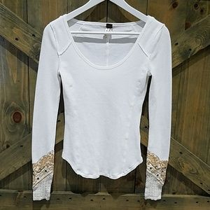 WE THE FREE BY FREE PEOPLE THERMAL WAFFLED SHIRT